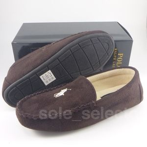 NWT Polo Ralph Lauren Moccasin Slippers Brown sz 9